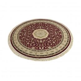 Tapete Persa Kashmar Redondo Vermelho com Bege e Detalhes em Preto - 250x250cm