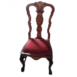 Cadeira de Jantar Clássica com Encosto Marchetaria e Estofado Vermelho