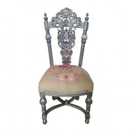 Cadeira de Jantar em Madeira de Lei Prateada Esculpida a Mão  - 120x53,5x55cm