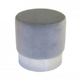 Puff com Estofado Cinza Estrutura em Metal - 47x37cm