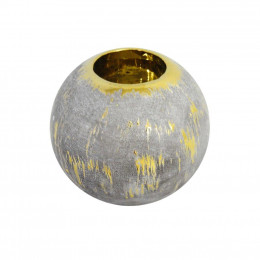 Porta Vela P  em Cerâmica com Detalhe Dourado - 10x9cm