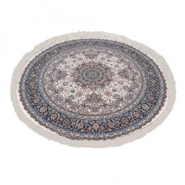 Tapete Persa Redondo Branco com Detalhes  Azul - 200x200cm