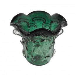 Vaso Arredondado em Murano Verde Escuro 13 x 14cm