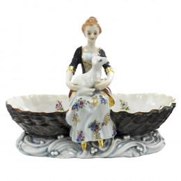 Saboneteira Dama/Ovelha em Porcelana Capo di Monte