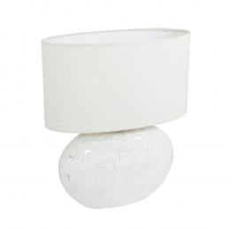 Abajur em Cerâmica Branco com Cúpula Branca - 55x44x22cm