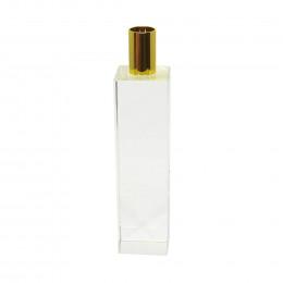 Castiçal em Cristal Transparente com Detalhe em Metal Dourado - 21x05cm