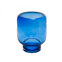 Vaso em Vidro Decorativo  em Azul - 25x19x19cm