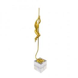 Escultura Decorativa em Resina Dourada e Base de Vidro - 56x09x09cm