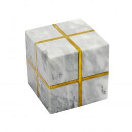 Cubo Decorativo em Mármore e Metal -  11x11cm