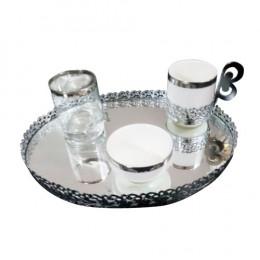 Jogo de Café 4 Peças + Bandeja Oval cor Prata - 21x3,5cm
