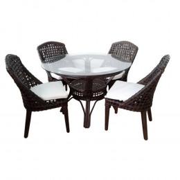 Mesa de Jantar em Rattan Escuro com 4 Poltronas