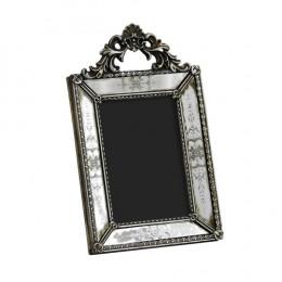 Porta Retrato Revestido em Resina Prata - 26x16cm