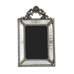 Porta Retrato Revestido em Resina Prata - 29x18,5cm