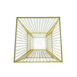 Mesa Auxiliar em Ferro Dourado com Vidro - 55x41cm