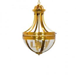 Lustre em Metal Dourado e Vidro - 75x47x47cm