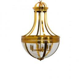Lustre em Metal Dourado e Vidro - 102x65x65cm