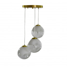 Pendente em Metal Dourado e Vidro - 50x50cm - Cabo 100cm
