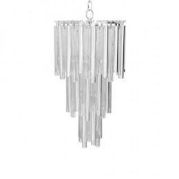 Lustre em Cristal e Metal Prata - 1,90x60cm
