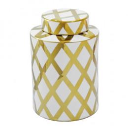 Potiche Decorativo Grande em Porcelana Dourado e Branco