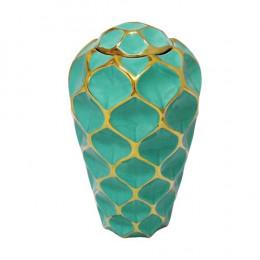Potiche Decorativo Pequeno em Porcelana Verde e Dourado