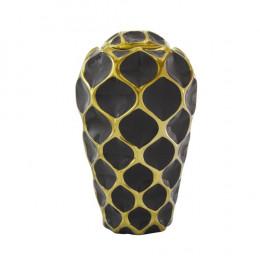 Potiche Decorativo Pequeno em Porcelana Marrom e Dourado