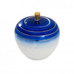 Potiche Decorativa Branco com Detalhes em Azul e Dourado - 20x17x17cm
