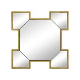 Espelho Decorativo Quadrado com Detalhes em Dourado - 60x60x60cm