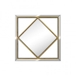 Espelho Quadrado com Moldurada em Resina Dourado - 50x50cm