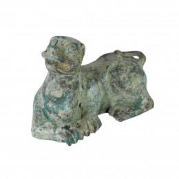 Escultura de Cachorro em Metal Verde -  07x10,5x6,5cm