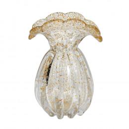 Vaso Decorativo em Murano Incolor com Detalhes em Dourado - 20x14x12cm