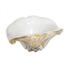 Bowl Decorativo em Murano Branco com Detalhes em Dourado - 10x21x15,5cm