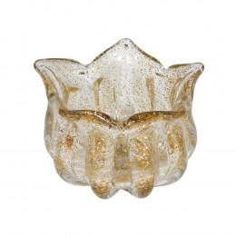 Bowl Decorativo em Murano Incolor com Detalhes em Dourado - 12X17cm