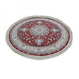 Tapete Persa Redondo Floral  Vermelho - 250x250cm
