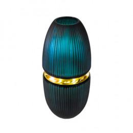 Vaso em Vidro Decorativo Verde e Dourado - 46x20x20cm