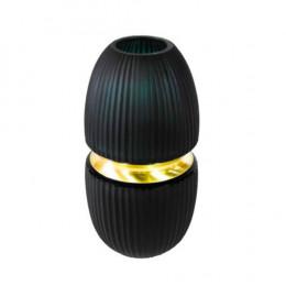 Vaso em Vidro Decorativo Verde e Dourado -  30x15x15cm