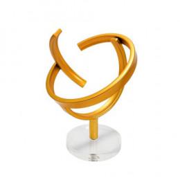 Escultura Decorativa em Metal Dourado e Base em Acrílico - 25x20x20cm