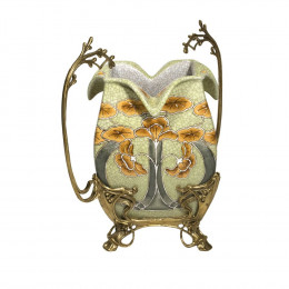 Vaso em Porcelana com Detalhes em Bronze - 34x32cm