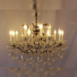 Lustre Clássico 15 Velas Gotas de Cristal Lapidado