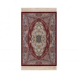 Tapete Persa Mashad Bege com Detalhes em Vermelho - 133x190cm