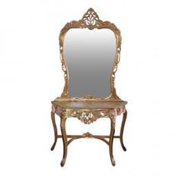 Aparador Clássico Dourado com Espelho - 87x126x53 - 141x116cm