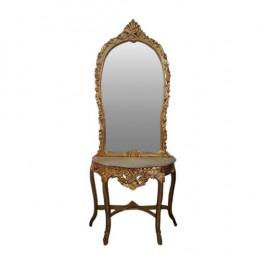 Aparador Clássico Dourado com Espelho - 88x94x50 - 139x79cm