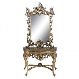 Aparador Clássico Prata Luis XV Com Espelho - 231x133x55cm