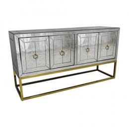 Aparador Espelhado Dourada com 4 Portas - 80x150x45cm