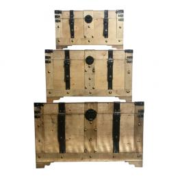 Conjunto com 3 Baús em Madeira Maciça Bege - 182x102x110cm