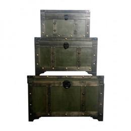 Conjunto com 3 Baús em Madeira Maciça Verde - 182x102x110cm