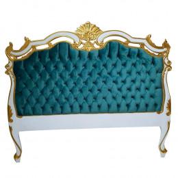 Cabeceira de Cama Azul Marinho com Detalhes em Branco e Dourado