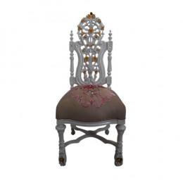 Cadeira Bege e Branca com Detalhes Floral - 127x56x54cm