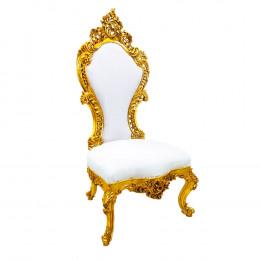 Cadeira Clássica em Madeira Dourada Revestida em Tecido Branco - 173x82x68cm