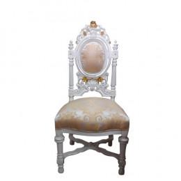 Cadeira de Jantar Bege com Detalhes Dourado - 127x56x56