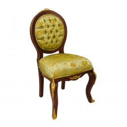 Cadeira em Madeira com Detalhes em Bronze e Estofado Verde Oliva - 105x63x58